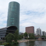 Westhafen tower: Designed as a reminder of a Frankfurt apple wine glass.