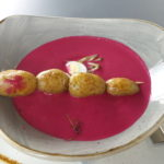 Cold beetroot soup with quail eggs and Ratte potatoes - wonderful!