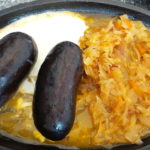 Black pudding sausages boiled in blood with braised cabbage and sour cream!