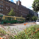 Convenient trams go through the city.