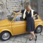 My dear friend Gosia and a tiny Italian car.