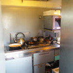 The kitchen onboard the train.