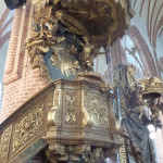 The Pulpit from 1700 - a tombstone lies beneath.
